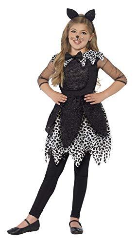 Smiffy's Smiffys-44287S Disfraz de Gata de Medianoche, con Vestido, Cola y Diadema con Orejas de de, Color Negro, S - Edad 4-6 años 44287S