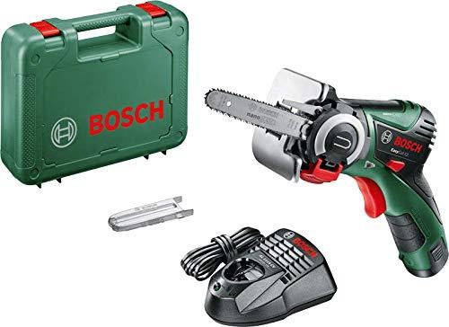 Bosch EasyCut 12 - Sierra de cadena a bateria de 12 V y 2,5Ah, con tecnología NanoBlade (hoja de sierra, batería, cargador y maletín)
