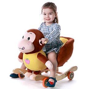 YULAN Mono Trojan Niño Aprendizaje Temprano Rocking Horse Bebé Silla Mecedora de Doble Uso Juguetes para bebés 1-4