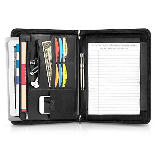 Schreibmappe, Simboom A4 Businessmappe mit Fächern für 13.3 Zoll MacBook Air/Pro Laptop, Fächern für Tablet, Konferenzmappe für Damen und Herren