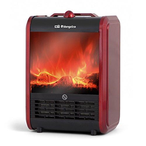 Orbegozo CM 9015 - Termoventilador, chimenea eléctrica efecto fuego real, 1500 W, dos niveles de potencia de calor, posición efecto fuego real, color rojo y negro