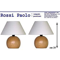 Coppia lumetto lampada abat jour da comodino sfera in legno tornito con paralume; produzione propria, made in Italy