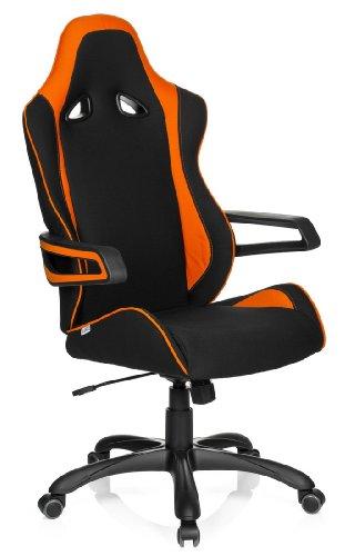 hjh OFFICE 621842 RACER PRO II - Silla gaming y oficina, tejido negro / naranja