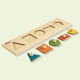 Dida – Seriazione Forme Geometriche. Puzzle in Legno per Bambini, con Sequenza di Tessere ad I