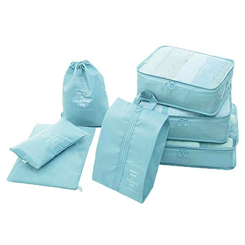 House of Quirk Polyester 3 Packing Cubes with 3 Pouches and 1 Toiletry Organizer Bag (Light Blue) -Set of 7