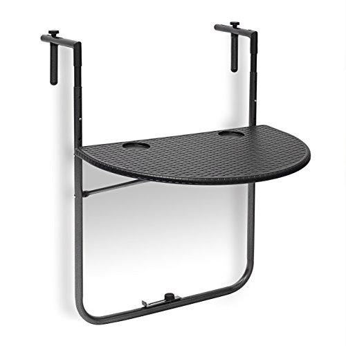 Relaxdays Balkonhängetisch BASTIAN klappbar, 3-fach höhenverstellbarer Klapptisch, Tischplatte BxT: 60 x 40 cm, schwarz