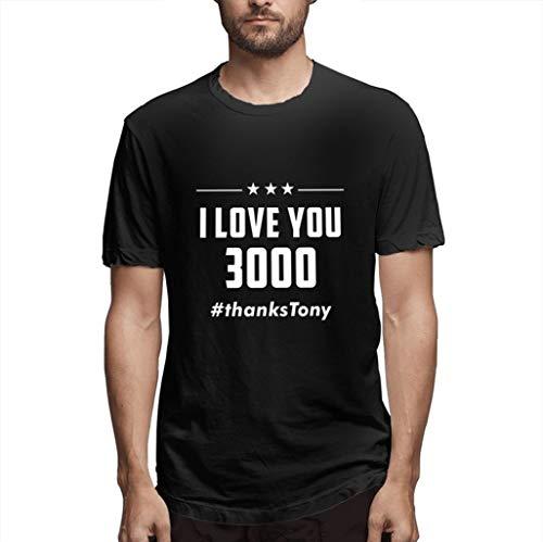 Lazzboy Uomo T-Shirt Top I Love You 3000 Times Casual Estate Manica Corta Bluse(XL,Nero-1)