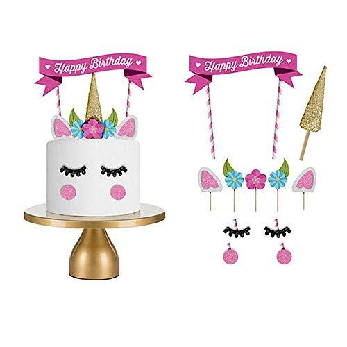 LOVE77Unicorn cake Toppers, Birthday cake topper Set di 11decorazioni della festa di compleanno per bambini