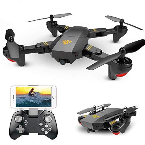 YANGSANJIN RC Drone con Telecamera HD 1080P Pieghevole Drone con FPV App Mobile Controllo Grandangolare Selfie 2.4GHz WiFi con Funzione di Sospensione altitudine, Black