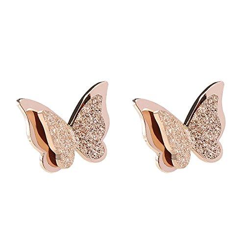 Fablcrew Pendientes con Forma de Mariposa Oro Rosa
