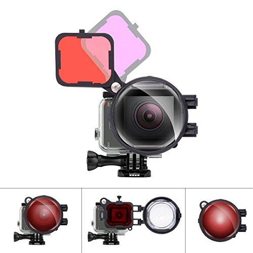 Fantaseal Pro 3 in1 Dive Lens Filter set per GoPro subacquea snorkeling lente filtro rosso + Magentafilter + 16 x vicino macro lente W/anti-sciolto Safety Lock per GoPro Hero 7/6/5 Diving Lens Filter