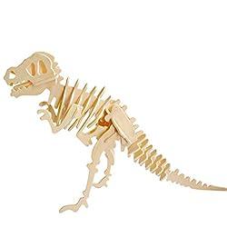 Rocita Juego Rompecabezas Dinosaurio de Animales 3D de simulación de Madera Asamblea Rompecabezas Modelo de Juguete para niños y Adultos (Tyrannosaurus)