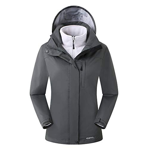 Amazon Marke: Eono Essentials Damen 3-in-1-Jacke mit fester Kapuze (Dunkelgrau, M)|Wasserdicht | Fleecejacke damen|Winterjacke damen