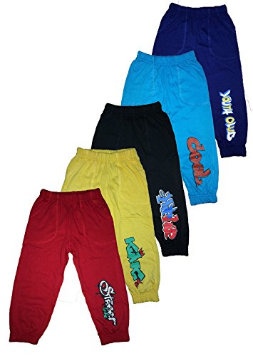 T2F Kids Boys Track Pant (Pack of 5) -Red- Black- Violet- Yellow- Blue (5-6 Years)