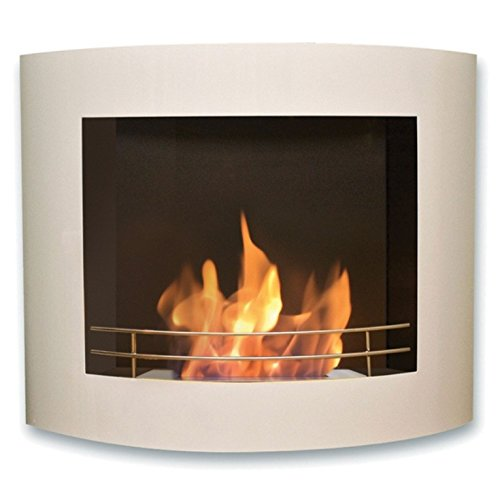 Cefiro, Wall-Mounted Bioethanol Fireplace with PURline®, White Lacquer