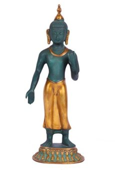 "14""Grande de pie Buda Estatua Metal Latón Escultura Colorful Tibetano Buda Figura Decorativa"