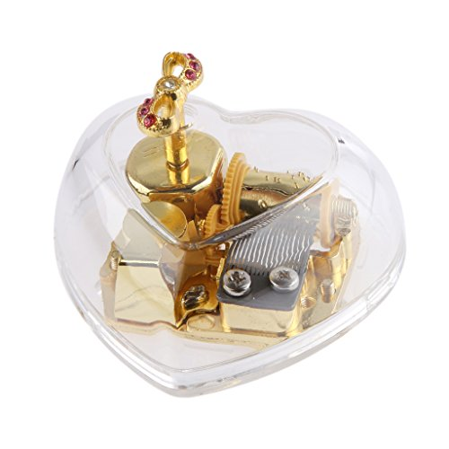 Magideal Acrylic Heart Bowknot Clockwork Music Box Melody Box Happy Birthday To You