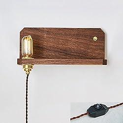Nordisches Retro- Messingzubehör-festes Holz-Walnuss-Bücherregal legt Wand-Lampe (mit Draht-Stecker) ein Modernes japanisches Schlafzimmer-Bett-praktische E27-Wand-Licht (links / rechts) W: 35CM ( Design : Links )