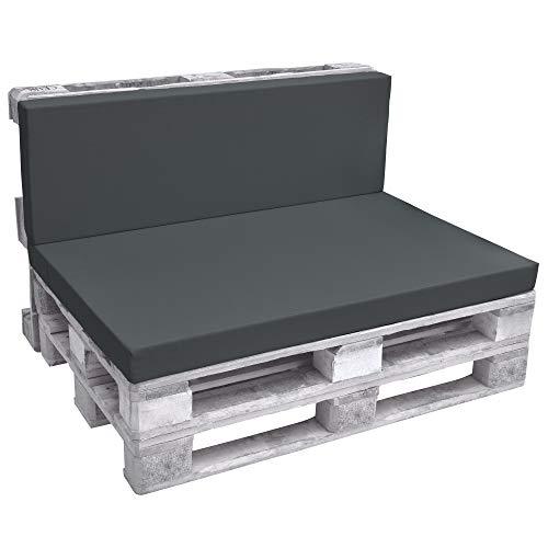 Beautissu Cuscino spalliera per divani con bancali - Eco Pure 120x40x8cm - per divanetti e panche da Giardino - Grigio