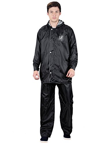 Fabseasons Apex707-Black-3XL Polyester Men's Reversible Waterproof Raincoat with Adjustable Hood and Reflector, 3XL (Black)
