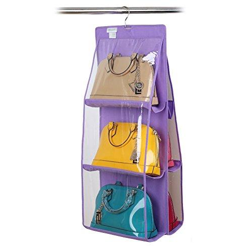 Organizer con gancio per armadio, 6 tasche, ideale per borse verde