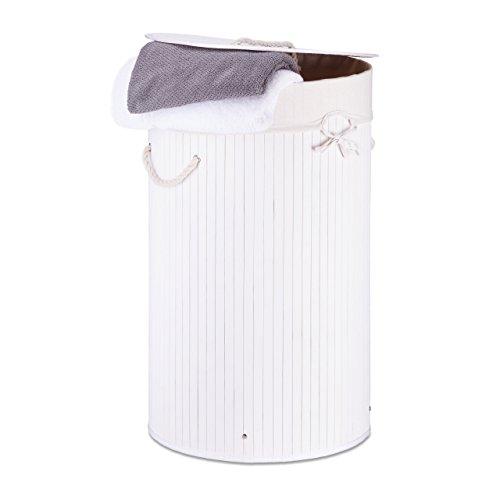Relaxdays Wäschekorb Bambus, faltbare Wäschetonne mit Deckel, Volumen 70 l, Wäschesack Baumwolle, rund Ø 41 cm, weiß