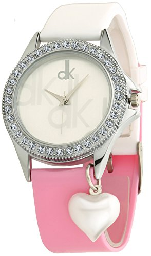 Dk White Heart Pearl Dangle Stones Studded Analogue Jeans & Top Combination Soft Strap Wrist Watch For Girls - Womens (dk01164).