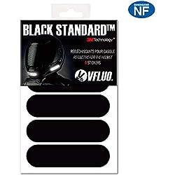 VFLUO Black StandardTM, Kit de 4 Pegatinas Retro Reflectantes para Casco de Moto, Visibilidad de Noche, 3M TechnologyTM, Negro