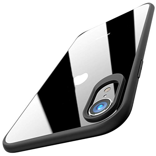 Egotude Ultra Slim Matte Bumper Clear Transparent Hard Back Case Cover for iPhone XR (Black)