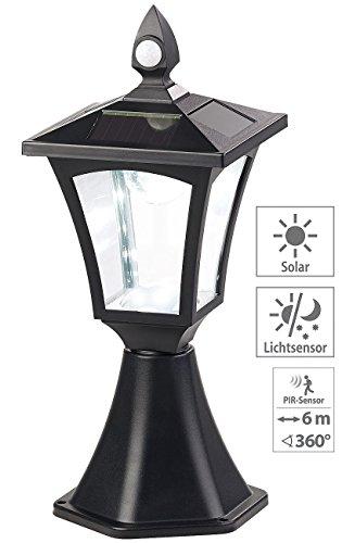 Royal Gardineer Gartenleuchten: Solar-LED-Standleuchte, PIR-Sensor, Dämmerungssensor, 100 lm, IP44 (SolarLED Leuchte für Gatensäule)