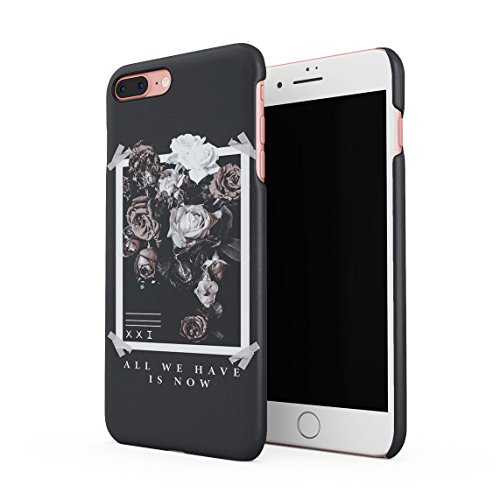 All We Have Have Is Now Pale Weiß & Rosa Wild Roses Tumblr Dünne Rückschale aus Hartplastik für iPhone 7 Plus & iPhone 8 Plus Handy Hülle Schutzhülle Slim Fit Case cover