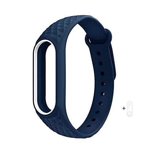 Brain Freezer J Replacement Polygon Pattern TPU Strap with a Screen Guard for Xiaomi Mi Band 2 and HRX (Dark Blue and White)