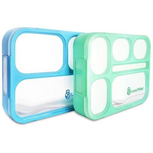 Lexa Miller Premium Bento Lunchbox I 2 stück I 3 & 6 Fächer I Auslaufsicher- Jede Kammer untereinander I Vesperdose I BPA Frei brotdose I Meal prep Set für Kinder & Erwachsene Inkl Besteck & EBook
