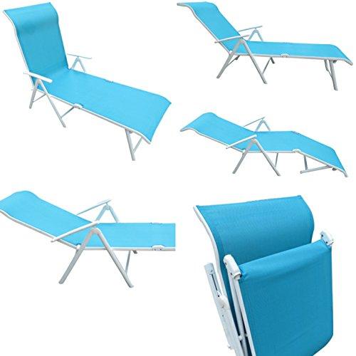 Amaze Folding Compact Outdoor Indoor Swimming Pool Farm House Garden Sun Bed Beach Lounger Chair Deck Chair - Metal - (3 Fold) -Aqua Blue