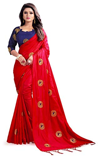 Kuvarba Fashion Paper Silk Embroidered Saree with blouse piece (Red)