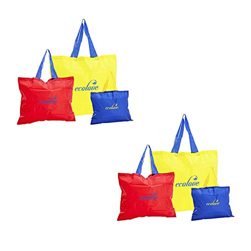 Ecolove Small Shopping Bags. Re-usable, Foldable, Washable & Durable Shopping Bags (2 Classic, 2 Large & 2 Small) (Multicolour) Set of 6