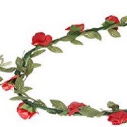 floristikvergleich.de EOZY Damen Mädchen Blumenkranz Blumenkrone Braut Hochzeit Haarschmuck (Rot)