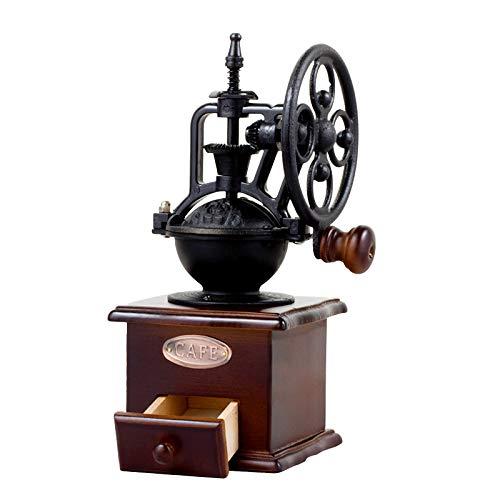 DecentGadget® máquina de café en grano puro caja de recogida de polvo de café de madera estilo vintage molinillo de café mano molino de café con núcleo de molienda de cerámica