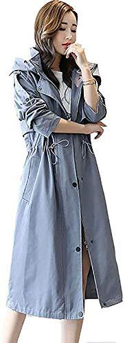 AMAZACER Donne Trench Tinta Unita Monopetto a Manica Lunga Over-The-Ginocchio con Cappuccio Zipper Coulisse Via Chic Casacca Plus Size Slim Equipaggiata Cappotto di Stile (Color : Blue, Size : XL)