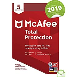 McAfee Total Protection 2019 - Antivirus, PC/Mac/Android/Smartphones, 5 Dispositivos, Suscripción de 1 año