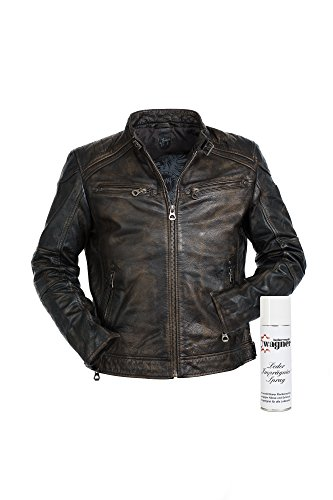 Gipsy Super modische Lederjacke mit tollem schwarzem Vintage Look Trendmodell vom Lifestylelabel großem Leder Wagner Imprägnierspray 1