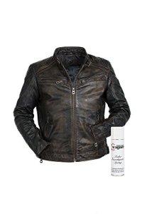 Gipsy Super modische Lederjacke mit tollem schwarzem Vintage Look Trendmodell vom Lifestylelabel großem Leder Wagner Imprägnierspray 5