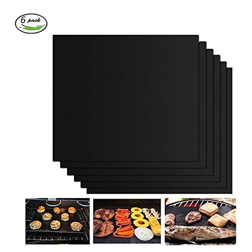 GQC Tappetini da Barbecue Set di 6 Mat Cottura BBQ in Teflon Approvati da FDA Antiaderenti...