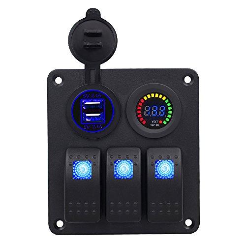 TurnRaise Boot Auto Switch Panel 3 Gang mit USB steckdose und voltmeter