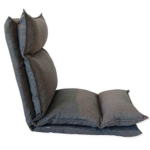 Rebecca Mobili RE6193 Sedia a terra, poltrona da meditazione richiudibile, grigio chiaro, metallo tessuto, poliestere, soggiorno veranda, TNT, 140x56x15 cm