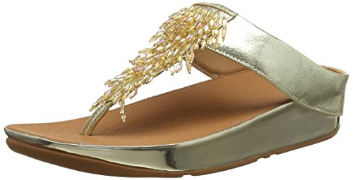 Fitflop Rumba TM Toe-Thong Sandals Crystal, Infradito Donna, Oro (Metallic Gold 537), 37.5 EU
