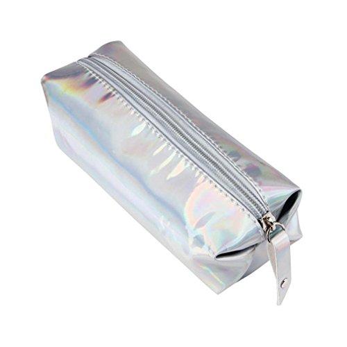 mytobang Astuccio olografico, chiusura a Zip, come portapenne, Trousse, impermeabile, Argento