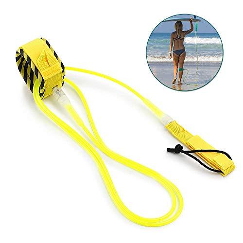 Lixada Surf Leash Surfboard Leash Smooth Steel Swivel Surfing Leg Rope Paddleboard Leash 6FT/8FT/10FT 10ft Yellow