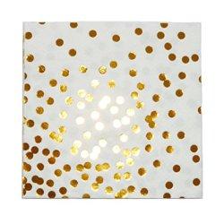 """floristikvergleich.de 10 Schicke elegante Papier-Servietten aus der Serie """"Gold Confetti"""" mit Gold Glänzenden Punkten"""