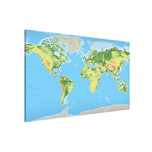 Bilderwelten Lavagna magnetica - Physical World Map - Formato orizzontale 3:2, pittura bacheca...